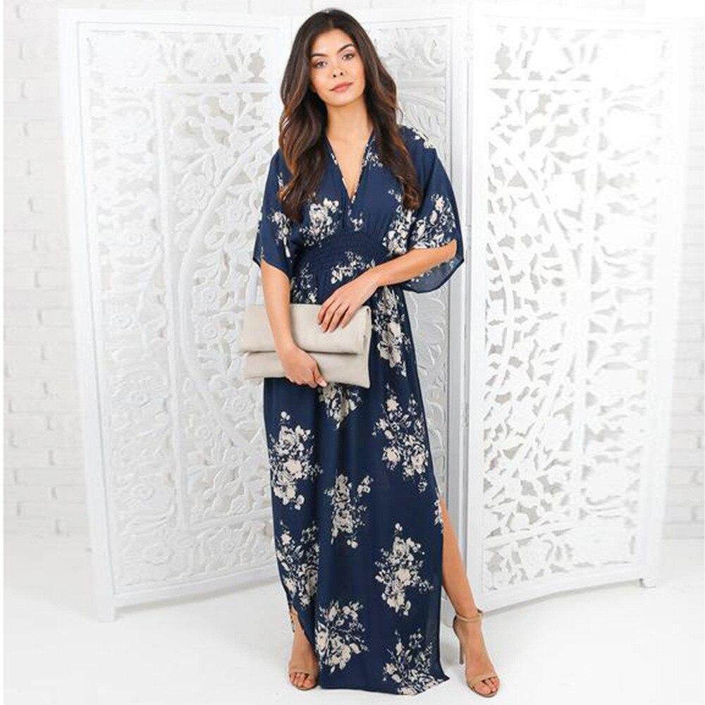 Feitong Brand 2017 Women Chiffon Half Sleeve Summer Dress Evening Party Dress Printed Drees
