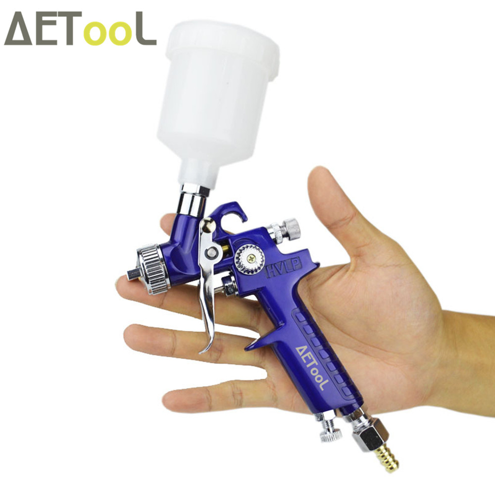 Image 2 - AETool 1.0MM Nozzle Professional HVLP Spray Gun Mini Air Paint Guns Airbrush With Air Regulator Gauge For Painting Car Aerograph-in Spray Guns from Tools on