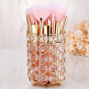 Image 5 - European Style Crystal Pencil Pen Holder Office Desk Cosmetic Makeup Brush Holder Eyebrow Eyeliner Container Gold Organizer