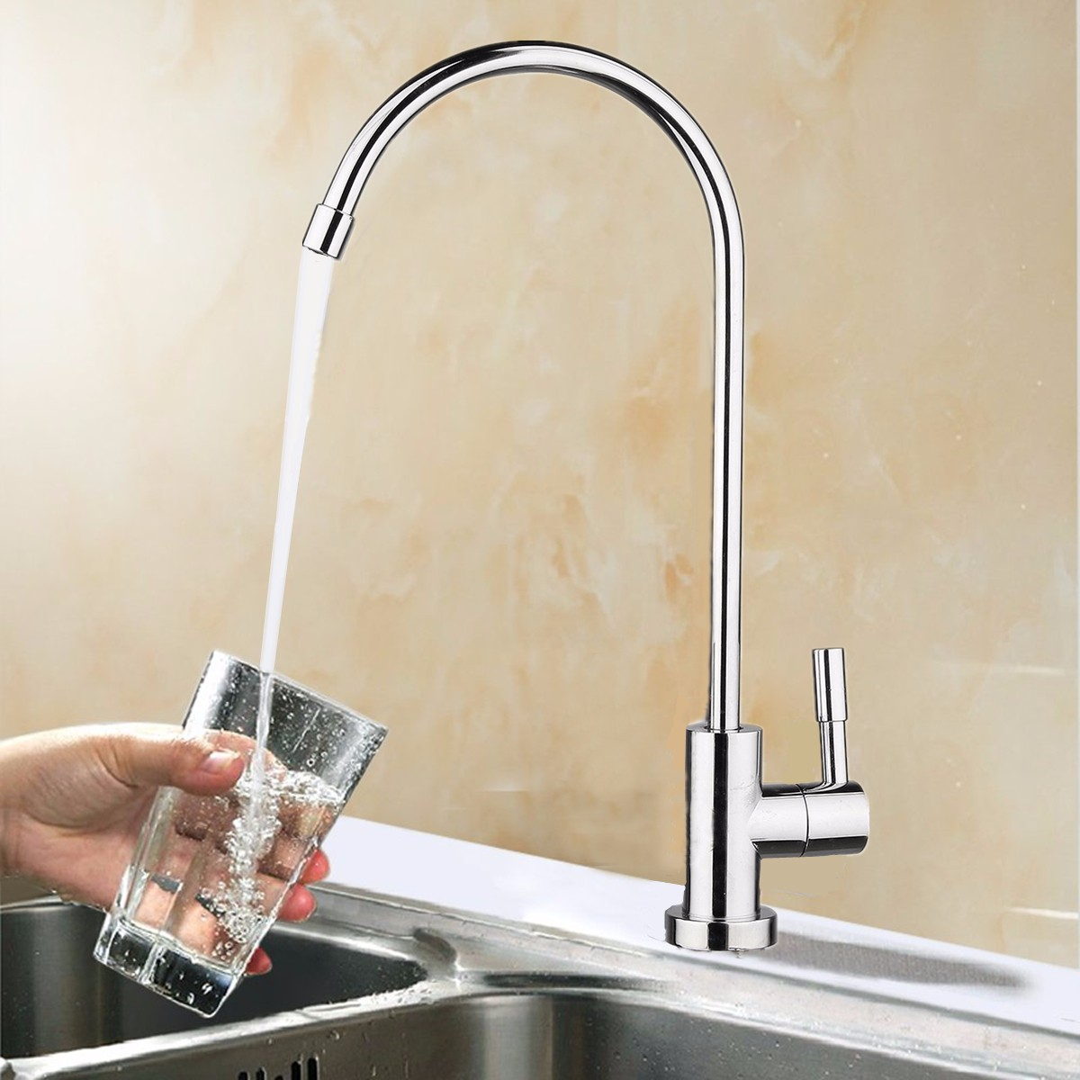 1/4 Reverse Bathroom Kitchen 360 Degree Drinking Water Filter Gooseneck Type Basin Faucets Kitchen Sink Tap Chrome