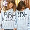 Jahurto 2016 Женщины Толстовки Блондинка Брюнетка Лучшие Друзья BFF Лучший Друг Печати Harajuku Подруги Толстовка Дамские Пуловеры