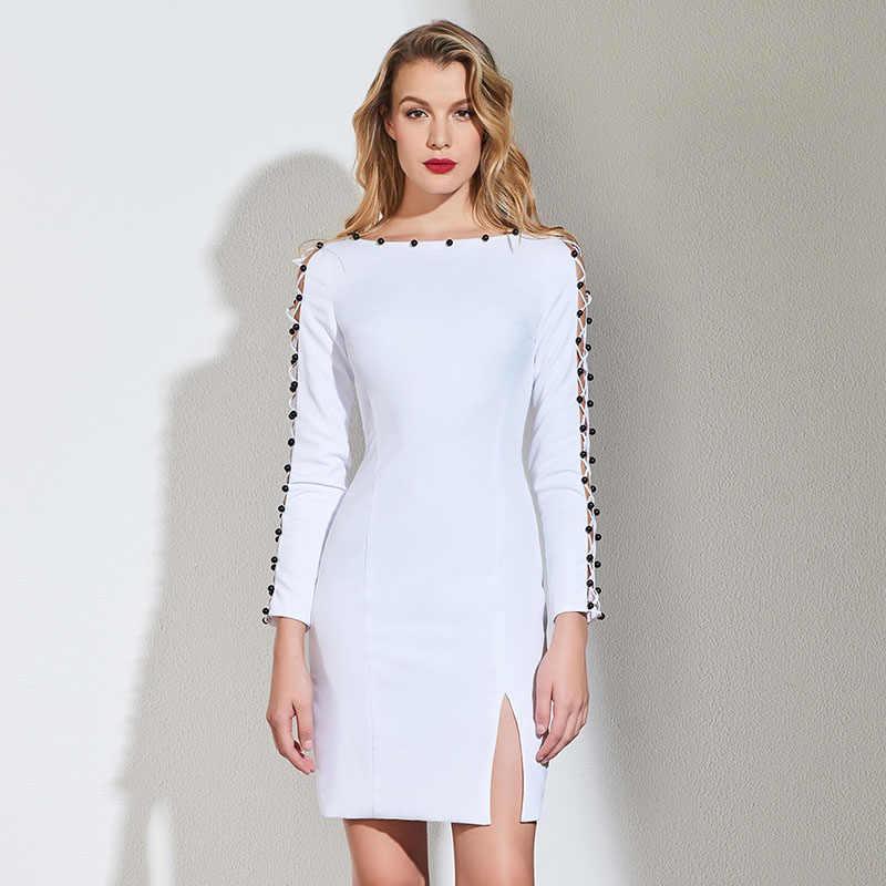 4b9ce56e5f5 Tanpell бисером коктейльное платье белый полные рукава до колен оболочка  платье Женщины homecoming Вечерние Пользовательские Короткие