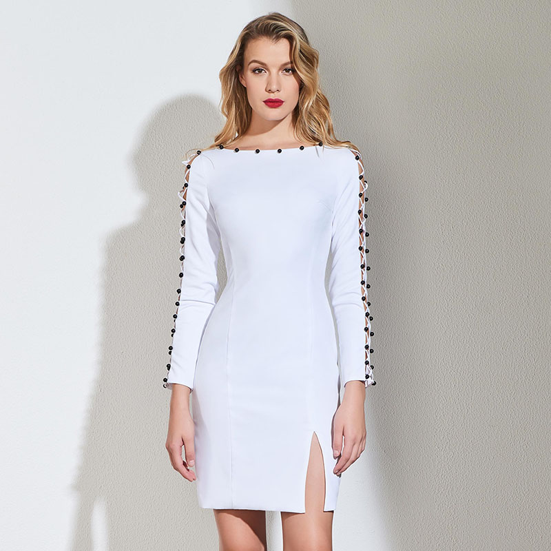 Weddings & Events Tanpell Beading Cocktail Dress White Full Sleeves Knee Length Sheath Gown Women Homecoming Party Custom Short Cocktail Dresses