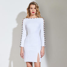 6c001541e1e3c Tanpell boncuk kokteyl elbise beyaz tam kollu diz boyu kılıf elbise kadın  buluşması parti özel kısa kokteyl elbiseleri