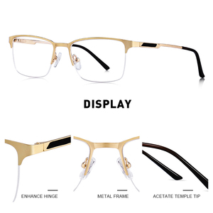 Image 2 - MERRYS DESIGN Men ไทเทเนี่ยมกรอบแว่นตาชายชายสแควร์ Ultralight สายตาสั้นแว่นตาชายครึ่ง S2125