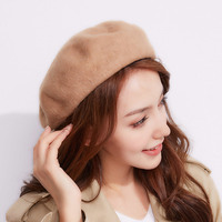 Autumn And Winter Ladies Fashion Solid Color Berets Wild Women Wool Warm Berets