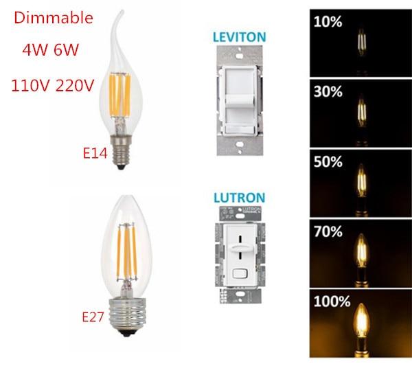 LED Design Energy Saving E14 E27 E12 2W 4W 6W Candle Bulb AC 220V 110V Dimmable C35 C35L LED Filament Light Bulb 360 Degree Lamp