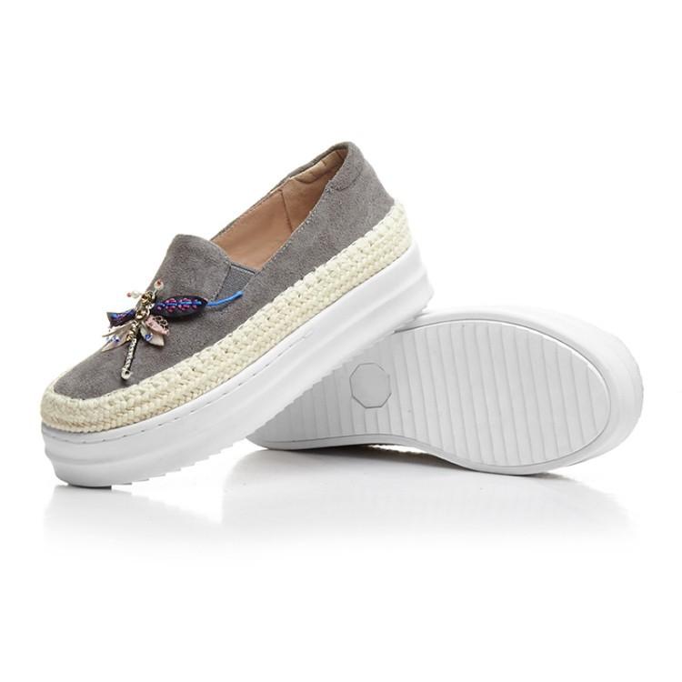 Big Size Women Platform Loafers Crystal Genuine Leather High Quality Pointed Toe Flats Shoes For Women Slipony Women Rhinestone  (6)