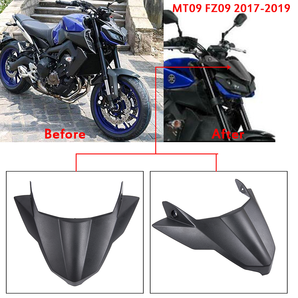 18 19 MT 09 FZ 09 2018 ABS Front Nose Fairing Wheel Fender Beak Nose Cone Extension Cover Extender Cowl For MT09 FZ09 2017-2019