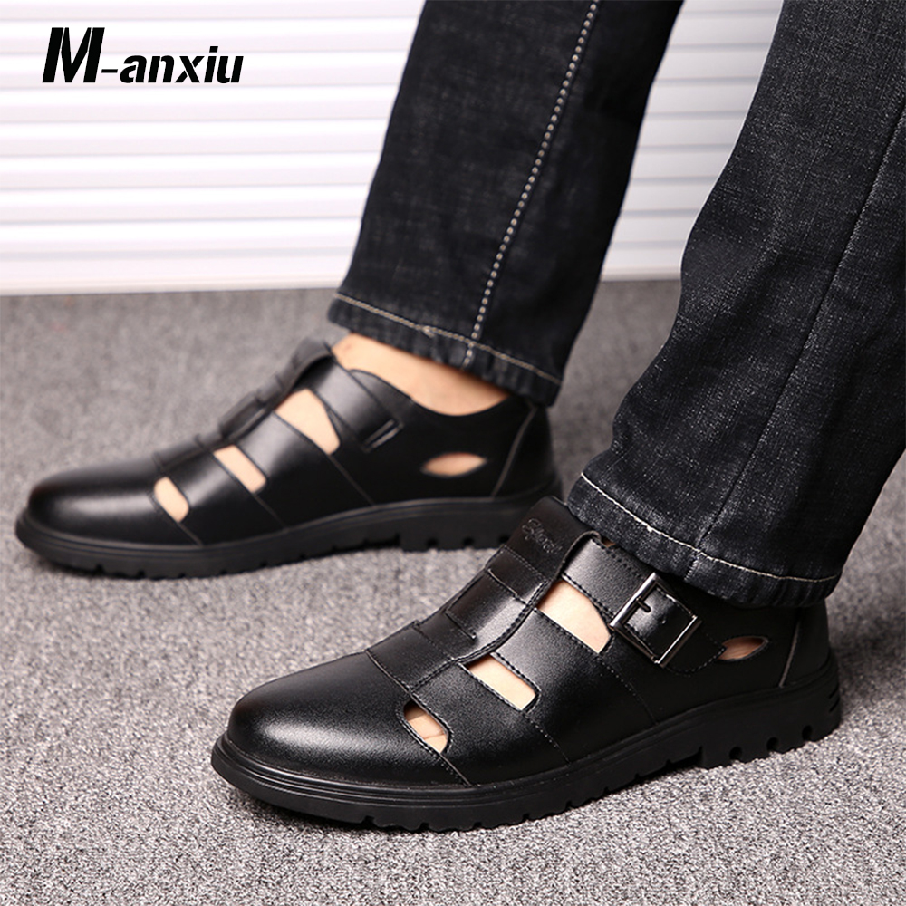 M-anxiu 2018 Summer New Design Men Hollow Out Slip on Sandal Thick Rubber Sole Soft Summer Shoes Low Heel Antiskid Shoes france tigergrip waterproof work safety shoes woman and man soft sole rubber kitchen sea food shop non slip chef shoes cover