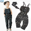 2016 girls Rompers clothes kids Girls harness heart-shaped piece clothing set kids summer Jumpsuit clothes