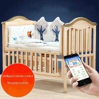 Экологичные детские кроватки твердой древесины Интеллектуальные удаленные электрической качалки новорожденных Колыбель кровать многофу