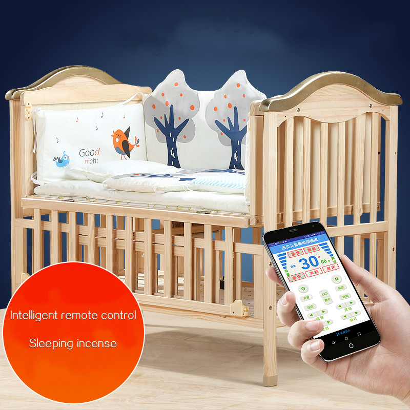 Ecológico cuna de madera maciza inteligente remoto eléctrico mecedora cuna recién nacido cama BB bebé multifuncional costura cuna