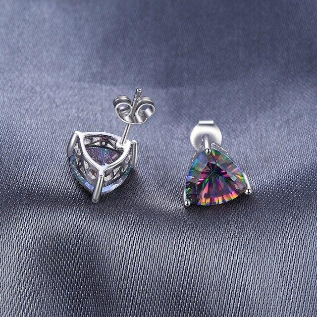 JewelryPalace Triangolo 6.3ct Genuino di trasporto Arcobaleno Fuoco Mystic Topaz 925 Sterling Silver Orecchini con perno di Modo Delle Donne Dei Monili Dell'annata