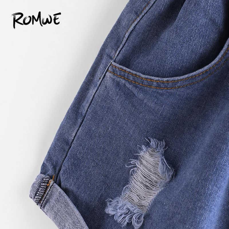ROMWE с эластичной резинкой на талии, рваные шорты из денима 2019 синего цвета модные женские туфли летние пуговицы шорты в уличном стиле; Роскошные Шорты с высокой талией