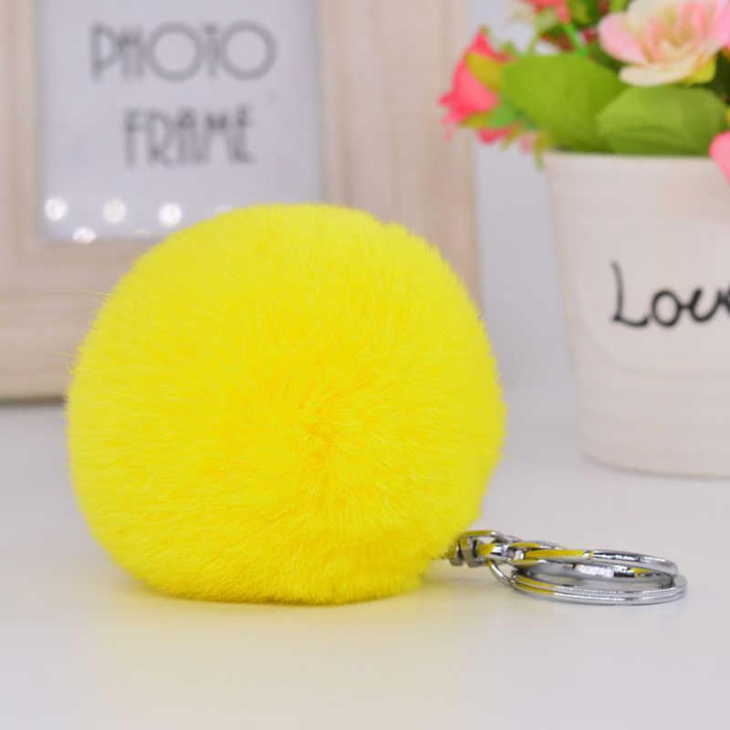 8 cm Fofo Bola de Pêlo de Coelho Pompom Pele De Coelho Pom Pom Keychain Llavero Chaveiro Sleutelhanger Pom Pom Charme Bolsa Pingente porte Clef