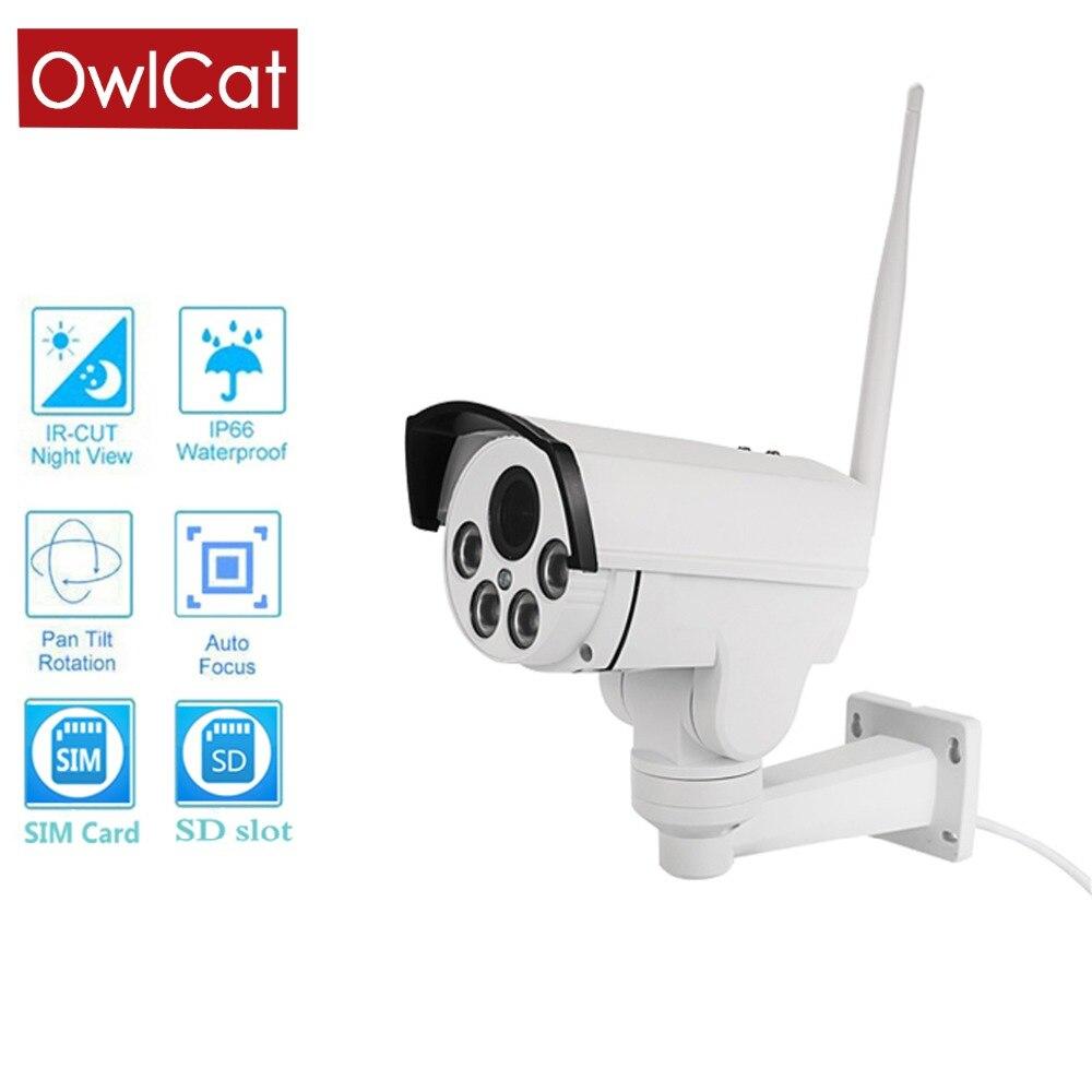 OwlCat HD1080P 960P 4G SIM card IP Camera Wifi Outdoor Bullet PTZ 5X Zoom Pan Tilt