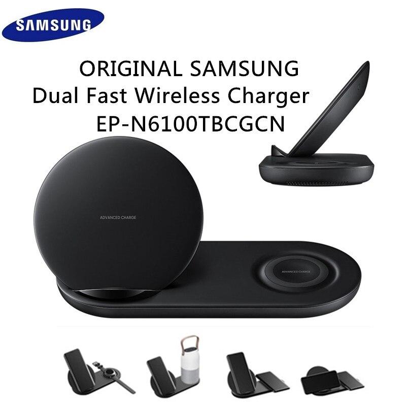 D'origine Samsung Chargeur Rapide Sans Fil Duo Quai Double EP-N6100 Noir Pour Galaxy Note 9 8 S9 Adaptateur De Charge Rapide EP-N6100TBCGCN