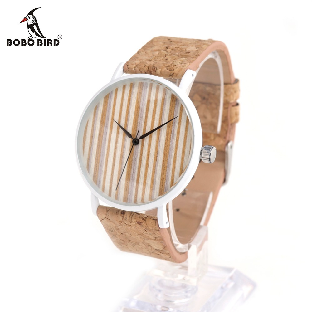 BOBO BIRD E18 Luxury Quartz Watches Top Brand Designer Watches With Wood Watch Face and Cork Leather Straps in Gift Box OEM bobo bird o01 o02men s quartz watch top luxury brand bamboo wood dress wristwatch with classic folding clasp in wood gift box