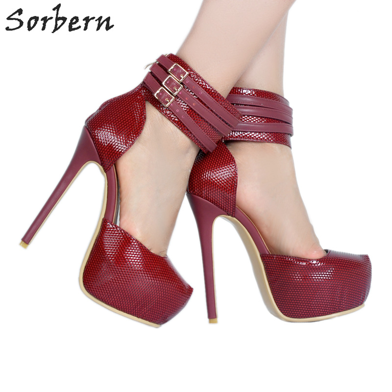 Sorbern Sexy Red Ankle Strap Shoes Women Pumps High Heel Platform Luxury Shoes Women Designers Thick Heels Ladies Dress Shoes цена