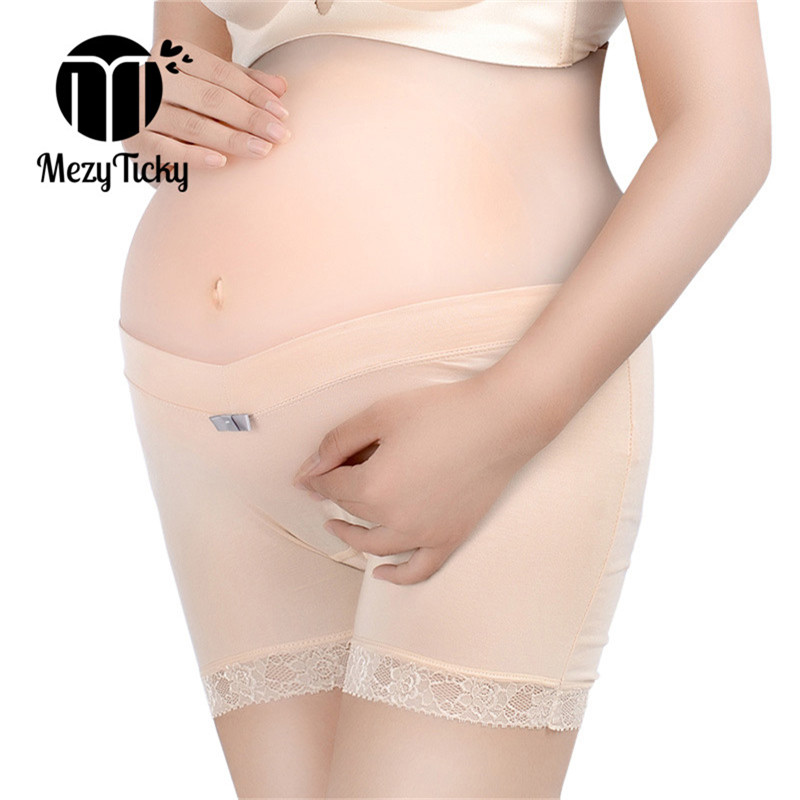 MezyTicky Pregnancy Leggings Elastic Safety Short Pant Care Belly Maternity soft Underwears Clothes Comfortable Low waist Pants