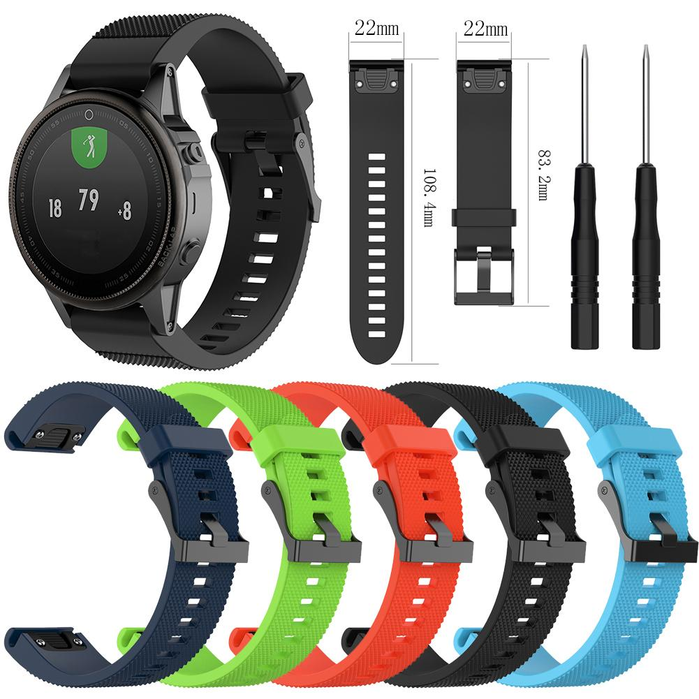 5 colors Soft Silicone Replacement wristband Watch Band bracelet strap for Garmin Fenix 5 For Smart Watch 22mm wrist band strap