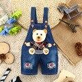 9 M-3 T Do Bebê Meninos calças de Brim do Verão Macacão Urso 3D Infantil Das Crianças Das Crianças Shorts Jeans Macacão Macacão Para Roupa das crianças