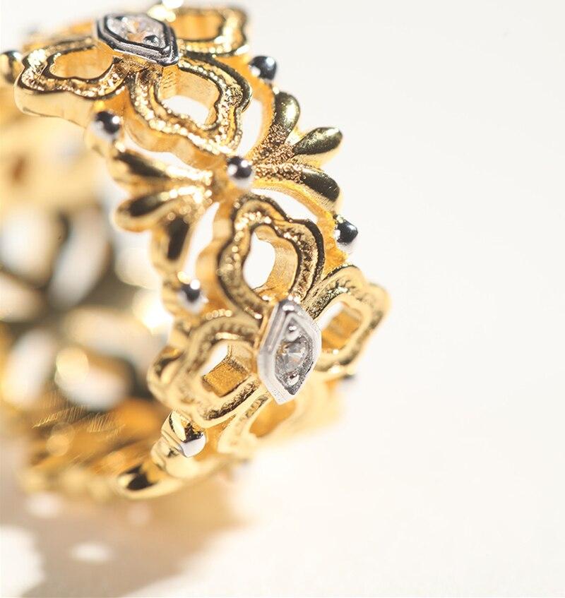 CMajor bijoux en argent Sterling chanceux guirlande fleur vigne feuilles Vintage creux anneaux pour les femmes - 6
