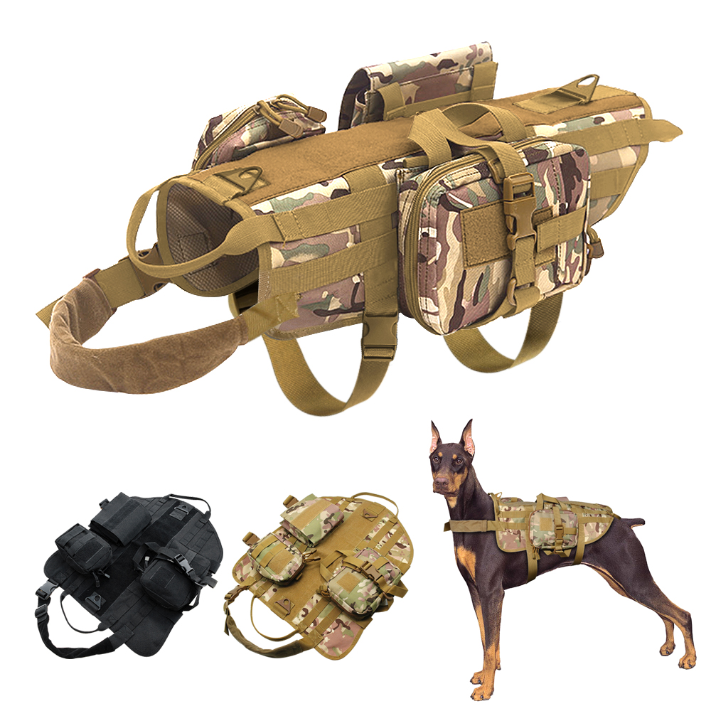 Tactical Dog Training Molle Vest Harness Pet Vest with Detachable Pouches Military K9 Harness for Medium Large Dogs Coyote Brown