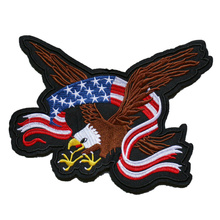 Factory custom American Eagle Flag Embroidered Iron On /Sew On Patch Motif Applique Cloth can be customized with your own logo цены онлайн