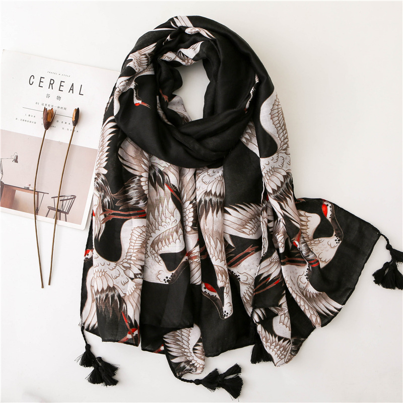Ladies Lovely Animal Flamingos Black Tassel Viscose Shawl   Scarf     Wrap   Headband Pashmina Stole Foulard Bufandas Muslim Hijab Sjaal
