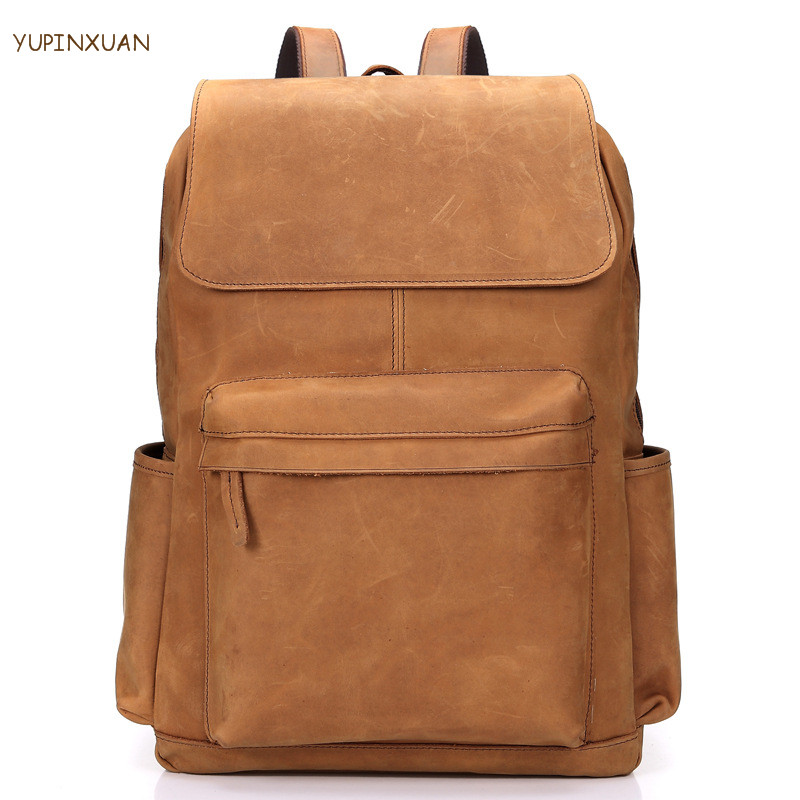 YUPINXUAN Large Capacity Cow Leather Backpacks for Men Hombre Mochila Fashion Travel Backpack Real Leather Crazy Horse Back Pack high quality men genuine leather backpack italian 100% cow leather unisex bag large capacity casual vintage backpacks mochila