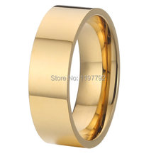 fine jewelry pure titanium steel jewelry wedding band promise rings gold colour 6mm ring for women anel(China)