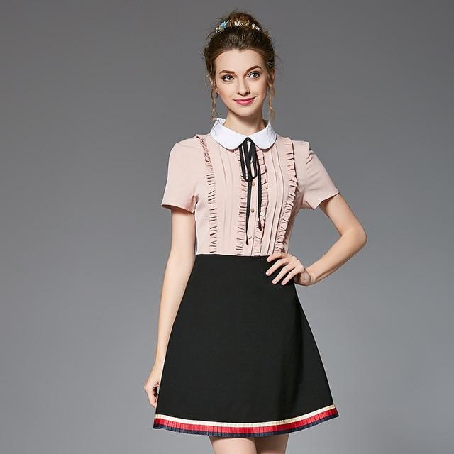 93ac4fe1ce US $57.13 |OUYALIN L 5XL Front Ruffles & Bow Tie Plus Size Dress 2017  Summer Women Contrast Color Patchwork Peter Pan Collar Short Dresses-in  Dresses ...