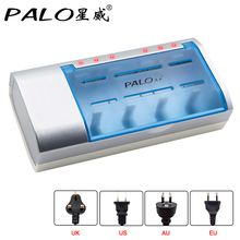 PALO Definite Time Battery Charger Bateria Timer Control 9.5 hours Charger For Nimh Nicd AA/AAA/SC/C/D/9V Rechargeable Batteries