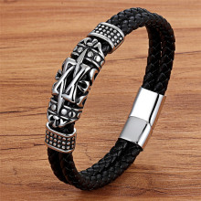 XQNI Punk Style Ancient Architecture Totem Elegant Small Adorn Article Genuine Leather Bracelet Double Layer Hand Jewelry Gift(China)
