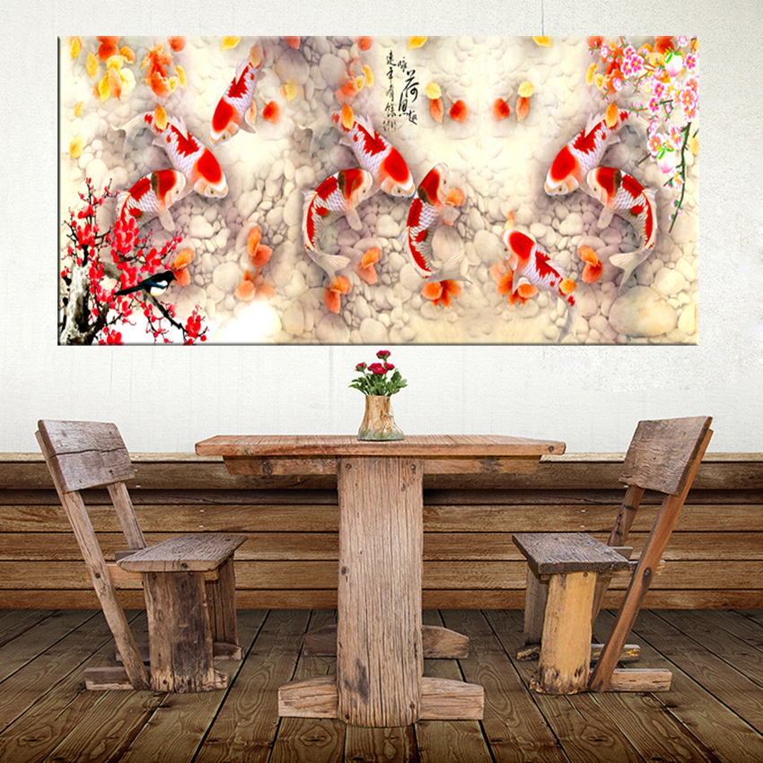 Chinese Fish Lotus Vintage Abstract Canvas Wall Art Picture Print ~ 9 Sizes