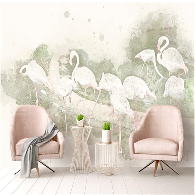 US $23.91 48% di SCONTO|Custom 3D Murale Carta Da Parati Flamingo Murale  Carta Da Parati per Soggiorno Cucina Decorazione Ristorante Carta Da Parati  ...