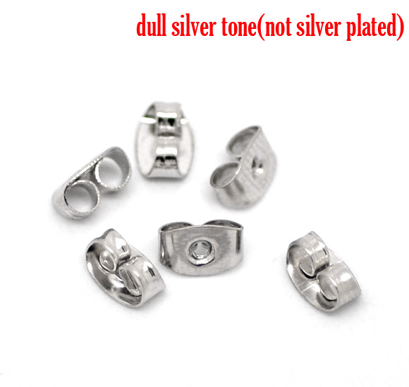 Earring Findings Ear Nuts Post Stopper Bowknot Silver Tone 6mm( 2/8