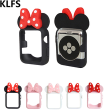 KLFS Silicone Cover Case For Apple Watch band 38 42 40 44mm Iwatch Series4 3 2 1 Women Soft TPU frame Mickey Protective Shell