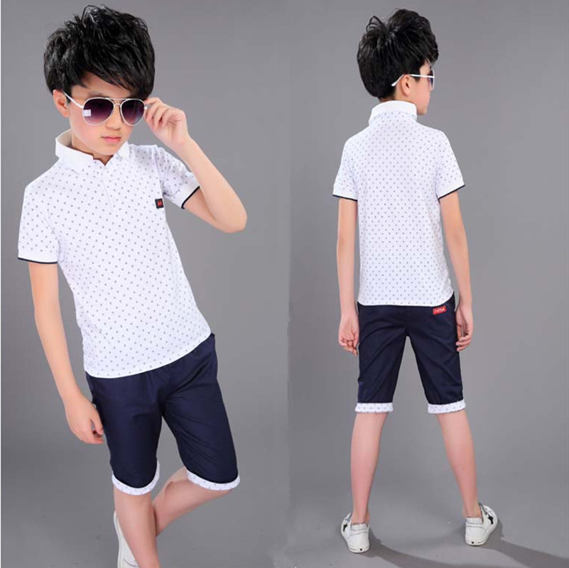 Boys Clothing Set For Summer Fashion Casual Sports Short Sleeve Cotton Children Clothes Sets Color Red / Dark Blue / White