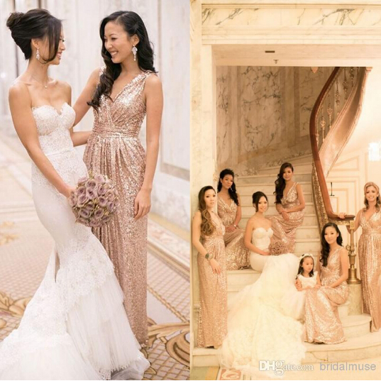 Custom made rose gold sequin bridesmaids dresses plus size for Made of honor wedding dress