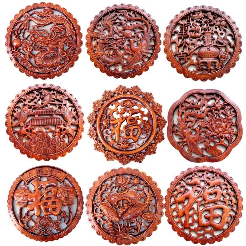 Chinois fu figure bois artisanat décoration bois décoration maison décor maison Dragon statue sculpture en bois mur décor cadeaux chanceux