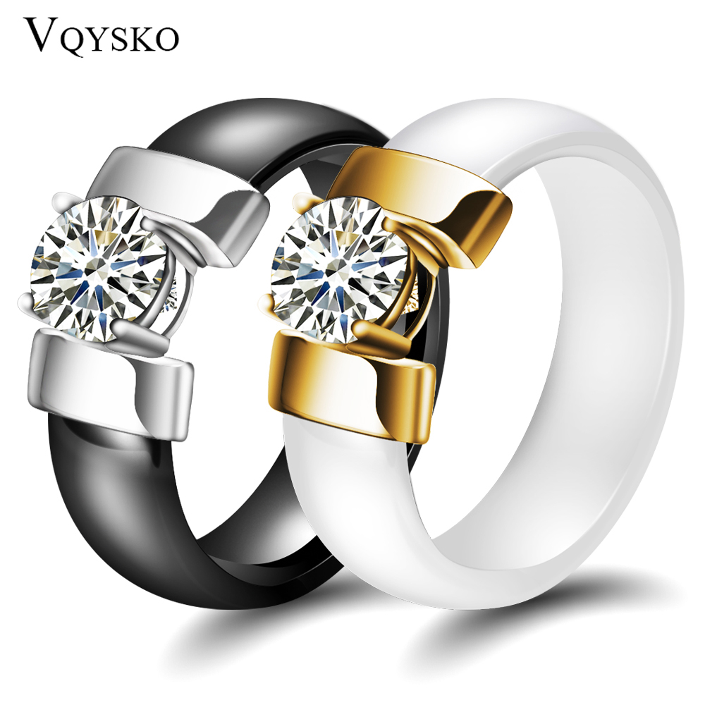 6mm White Black Ceramic Rings Plus Cubic Zirconia For Women Gold Color Stainless Steel Women Wedding Ring Engagement Jewelry(China)
