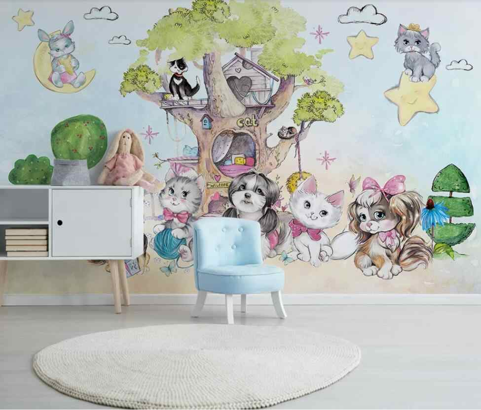 Modern Simple Cartoon Hand Painted Children S Room Background Wall Of Pet Cat Paradise 3d Mural Wallpaper Fabric Textile Wallcoverings Aliexpress