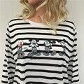 2016 Otoño Camiseta Ocasional Mujeres Moda de Manga Larga Patrón de la Historieta de Humor Camiseta de Las Mujeres de La Raya Camisetas Camiseta Floja Femm