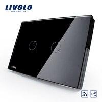 US AU Standard Smart Livolo Switch VL C302SR 82 Black Pearl Crystal Glass Panel 2 Way