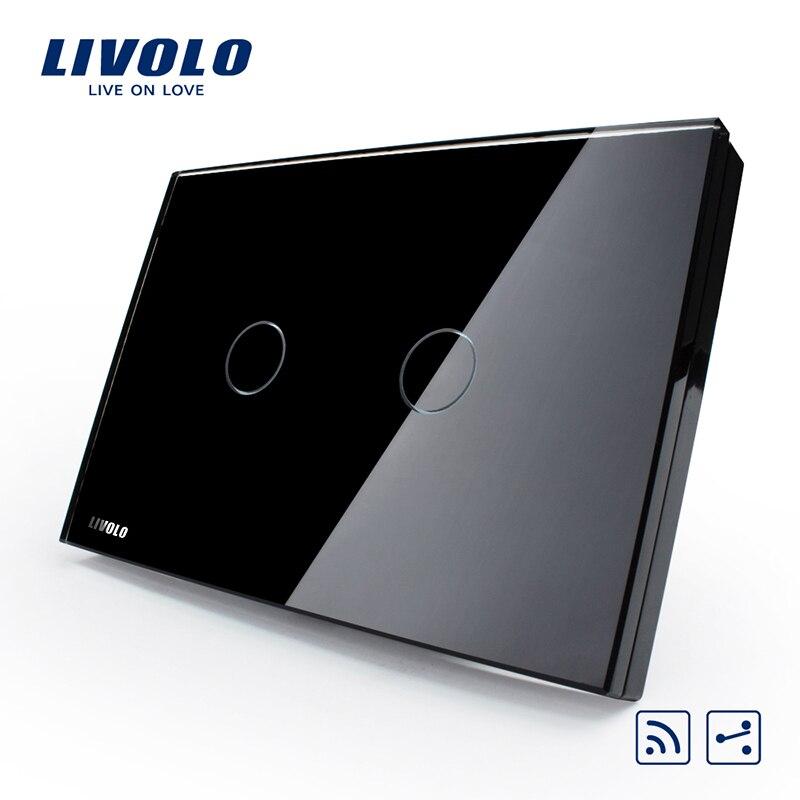 US/AU standard, intelligent livolo Commutateur VL-C302SR-82, Black Pearl Panneau Verre Cristal, 2-Way Numérique À Distance Accueil Mur Interrupteur