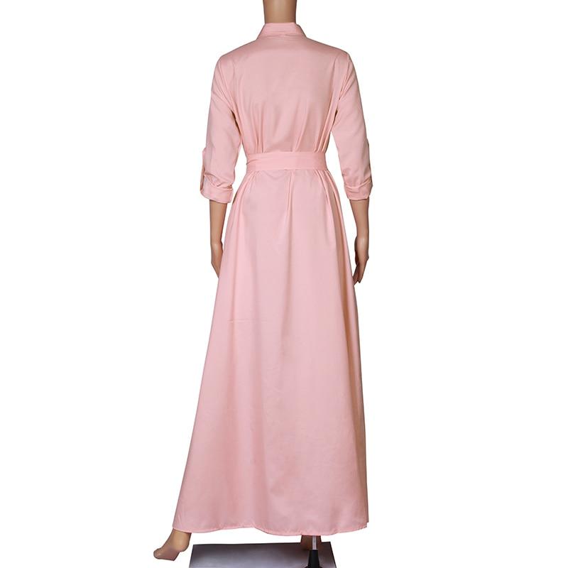 Elegant Women Fashion Long Sleeve Bandage Maxi Shirt Party Dress Ladies Single Breasted Buttons Floor Length Vestidos WS9871E 9