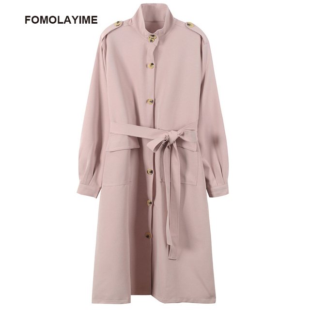 FOMOLAYIME Autumn Winter Trench Coats 2018 High Fashion Women Long Solid Trench with Sashes